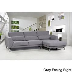 US Pride Furniture Aria Fabric Modern Sectional Sofa Set Grey
