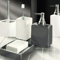 beautiful porcelain soap dish dispensers and toilet brush sets in dark grey white and black