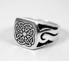 Triskele triquetra 925 plata anillo sello anillo celtas celtas joyas