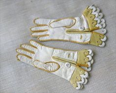 Antique Leather Doll Gloves Accessory For German or French Bebe doll