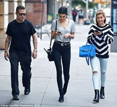 Like family: Kendall joined close friend Hailey Baldwin and her father Stephen Baldwin for...