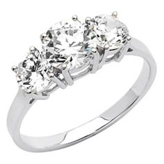 14K White Gold High Polish Finish Round-cut 2.00 CTW Equivalent Three Stone Top Quality Shines CZ Cubic Zirconia Ladies Wedding Engagement Ring Band The World Jewelry Center. $230.00. Simply Elegant. High Polished Finish. Promptly Packaged with Free Gift Box and Gift Bag