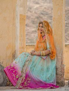 New Dress Design Indian, Indian Designer Wear, Half Saree Lehenga, Bridal Lehenga, Sari, Royal Dresses, Indian Dresses, Rajasthani Lehenga, Pure Georgette Sarees