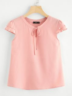 To find out about the Tie Front Pearl Embellished Cap Sleeve Top at SHEIN IN, part of our latestBlouses ready to shop online today! Blouse Styles, Blouse Designs, Girl Fashion, Fashion Dresses, Baby Girl Dress Patterns, Plain Tops, Cap Sleeve Top, Short Tops, Work Attire