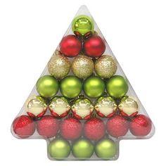 24ct 40mm Red Green Gold Shatterproof Christmas Ornament Set - Wondershop™