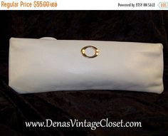 50% OFF New Years Sale Vintage Light Powder Blue Slender Leather Clutch Bag Purse