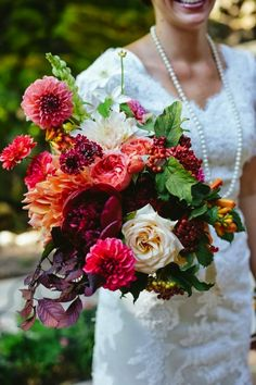Add bright dahlias to your wedding bouquet.