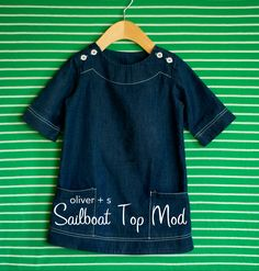 customizing with oliver + s: topstitched denim sailboat dress