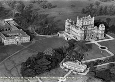 Wollaton Hall, aerial view showing Hall, stables and camellia house