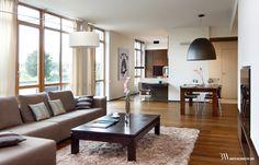 Projekt wnętrza nowoczesnego, dużego salonu z jadalnią i aneksem kuchennym. www.bartekwlodarczyk.com Home Living, Dining Bench, Conference Room, Couch, Table, Furniture, Home Decor, Decorating Ideas, Houses