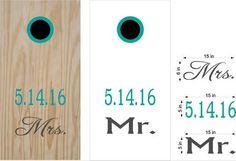 Mr Mrs Wedding Date Cornhole Board Vinyl Decal Sticker Graphic Custom Text Bean Bag Toss
