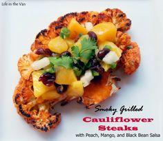 Smoky Grilled Cauliflower Steaks with Peach, Mango, and Black Bean Salsa