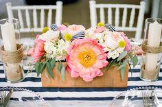 Pink peony centerpiece | Jenna Henderson Photography | see more on: http://burnettsboards.com/2015/04/preppy-summer-garden-wedding/