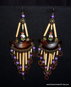 Vintage AFRICAN Earrings Made In Africa LARGE by Dreamtraveler247