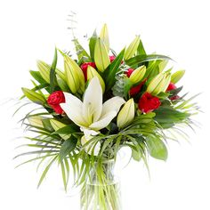 This glorious hand-tied bouquet is not only feminine but stylish as well. This is achieved by the selection of White Oriental Lilies, complemented with velvet red roses, salal and palm leaves. Early May Bank Holiday, Congratulations Flowers, Get Well Soon Flowers, Online Flower Shop, Oriental Lily, Hand Tied Bouquet, Same Day Flower Delivery, Mothers Day Flowers, Red Roses