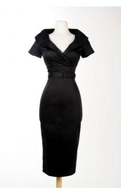 Christina Dress in Black Sateen | Pinup Girl Clothing
