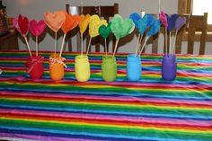 rainbow table cloth and table decoration