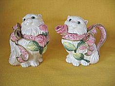 Fitz & Floyd Kittens & Roses Sugar Bowl & Creamer