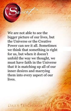 The Secret ~ Law of Attraction. Everything happens for a reason. My interpretation