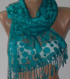 Turquoise  Elegance  Shawl / Scarf with Lacy Edge by womann, $19.90