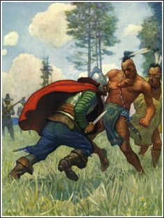 The Last of the Mohicans: A Narrative of 1757 (1826) Historical Novel by James Fenimore Cooper. 2nd book of Leatherstocking Tales pentalogy & best known. The Pathfinder, published 14 years later in 1840, is its sequel. http://1.bp.blogspot.com/-ibEMYLrQ1nc/UGedMA5VVQI/AAAAAAAB46U/atfh5fc94qg/s1600/21_courtship_wyeth_headlongleaped.jpg
