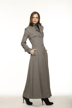 Womens Long Black Wool Coat with Red Detailing and Shawl Collar ...