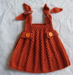 OMGOSH i MUST learn how to crochet! anybody knows how to make a dress like this please comment! This looks like knit, not crochet. Don't know where to find the pattern, however. Knitting For Kids, Crochet For Kids, Knitting Projects, Baby Knitting, Crochet Projects, Knit Crochet, Knitted Baby, Knit Baby Dress, Crochet Baby Clothes