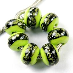 Artisan #Lampwork Charm #Bead, Large Hole, in Lime Green with Black Web and Silver #Handmade by #Covergirlbeads #ArtFire