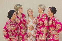 Bridesmaids Robes - Set of 5 - Kimono Crossover Robe Spa Wrap Perfect bridesmaids gift, getting ready robes, Weddingl shower party favors on Etsy, $135.00