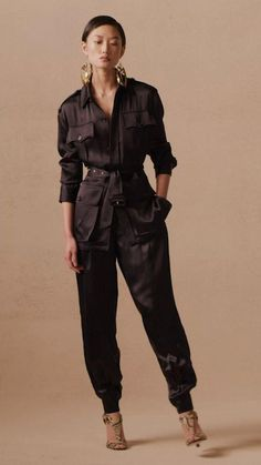 Contrasting textures in the Taryn Embellished Zip-Front Jacket and Tasha Double-Faced Satin Jacket bring a touch of extravagance to the iconic safari silhouette. Discover more styles from Collection Pre-Fall 2021. Satin Jackets, Ralph Lauren Collection, Contrast, Bring It On, Jumpsuit, Glamour, Silhouette, Zip, Elegant