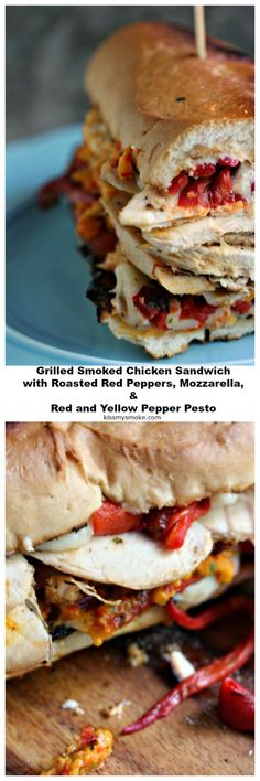 This grilled smoked chicken sandwich with roasted red peppers, mozzarella cheese and pepper pesto will become your favourite sandwich recipe of all time! The chicken is smoked first then piled high with tons of flavourful ingredients. Easy Dinner Recipes, Great Recipes, Breakfast Recipes, Easy Meals, Amazing Recipes, Weeknight Meals, Summer Recipes, Dinner Ideas, Outdoor Cooking Recipes