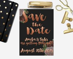 Rose Gold Save the Date Printable Gold Save The Dates, Getting Married, Notebook, Dating, Rose Gold, Printables, Stuff To Buy, Etsy, Happiness