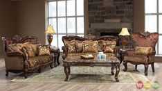 Opulent Traditional Ornate Sofa & Love Seat Formal Living Room Furniture Set #Traditional #SofasLoveseats