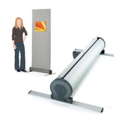 The Omega Fabric - Roller Banner Stand is a great option for users who require interchangeable graphics. The stand has a unique fabric roller banner with a Velcro compatible panel simply roll the fabric panel out as you would for any other roller banner using velcro to attach graphics to the fabric.