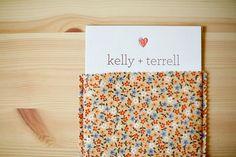 fabric pocket invitations | idea using gray invite w/ orange  lettering inside solid or striped pink fabric pocket???