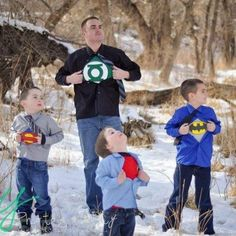 Super hero dad with sons