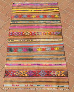 Striped Kilim Runner Rug Decorative Turkish Entrance Kilim Ethnic Bohemian Rug FAST DELIVERY Bohemian runner 190x74cm Boho Modern Home decor...