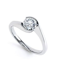 Platinum round twist solitaire diamond ring - Quality Diamonds