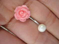 Pearl Pink Rose Belly Button Ring