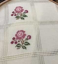 Cross-Stitch flowers stitch with purple and green colors. Cross Stitch Borders, Cross Stitch Flowers, Cross Stitch Designs, Cross Stitching, Cross Stitch Patterns, Embroidery Stitches, Embroidery Patterns, Hand Embroidery, Beading Patterns