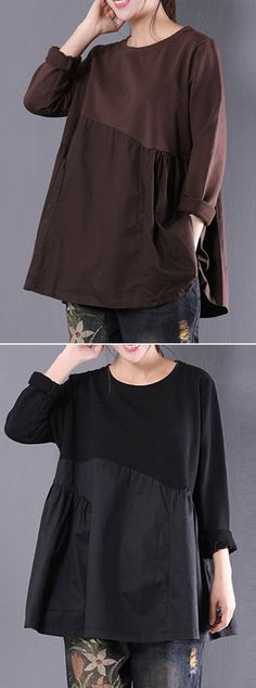 [Newchic Online Shopping] 45%OFF Women's Vintage T-shirts | Women's Pure Color T-shirts | Long Sleeve T-shirts | Patchwork T-shirts | O-neck T-shirts | T-shirts for Women #tshirts #womensfashion #winterfashion