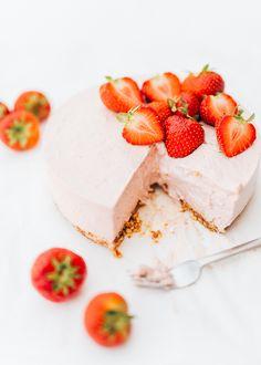aardbeien kwarktaart met gelatine - Uit Paulines Keuken