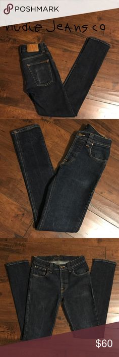 Nudie Jeans Grim Tim Organic Dry Navy W29 X L34 EUC, pair of slim fit Nudie Jeans. Button fly closure. No rips or holes with subtle distress detailing. W29 X L34. All reasonable offers considered Nudie Jeans Jeans Skinny