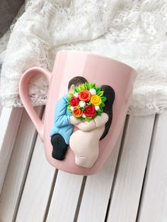 Excellent Free of Charge Ceramics cup for kids Style Handmade beatiful gift mug by polymer clay decor. Kitchen decor cup for mom . Polymer Clay Figures, Polymer Clay Charms, Polymer Clay Art, Handmade Birthday Gifts, Birthday Gift For Wife, Diy Clay, Clay Crafts, Crea Fimo, Clay Cup