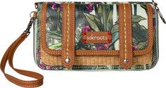 The decorative Artist Circle Convertible Flap Wallet has a polyester interior, metal hardware, and a zipper closure. It has a convertible shape and can be worn as a crossbody, belt bag, wristlet or wallet. The interior features 11 credit card slots, 3 bill folds, a picture ID window and a zippered c