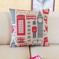 "Decorative Pillow Cover Linen British Style London Big Ben Cushion Case 18"" | eBay"