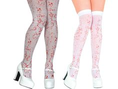 White Blood Stained Tights or Holds for Fancy Dress