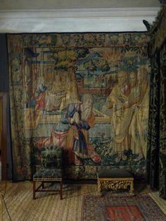Hardwick Hall green velvet bedroom tapestry