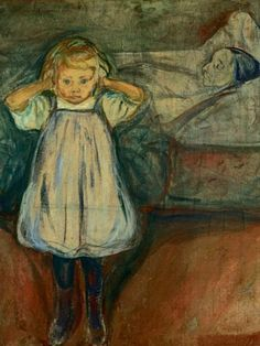 "Edvard Munchs Oil-painting ""Das Kind und der Tod"" (The child and the death) 