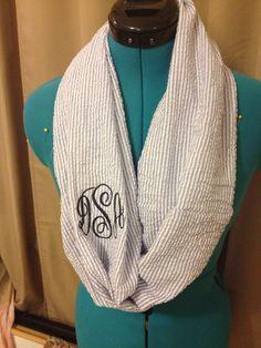 DIY Monogram Seersucker Infinity Scarf #DIY #Sewing #Sew #Accessories #Scarves #Monograms #Monogrammed #InfinityScarves